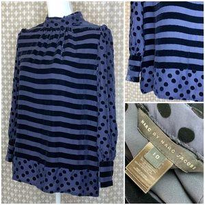 MARC JACOBS Silk Velvet Navy Stripe Dot Blouse 10